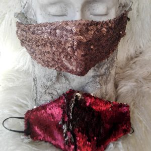 red sequin face mask